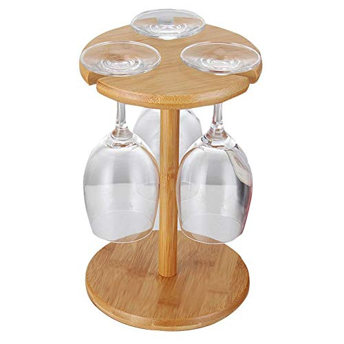 rukauf Soporte para copas de vino, de bambú, diseño moderno, para hasta 3 copas de vino
