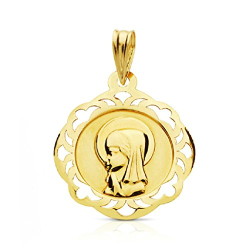 OROCORDOBA Medalla Bebé/Niña Oro Amarillo 18 ktes Tamaño 17 mm Comunión Virgen Niña