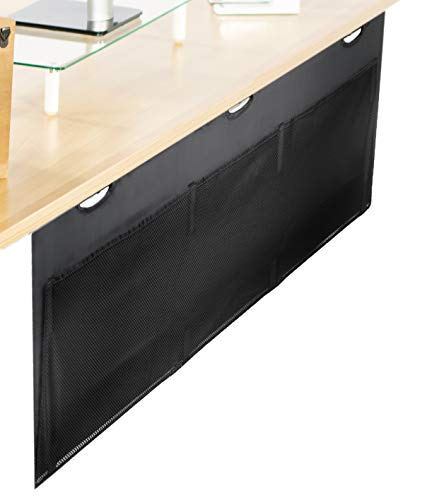 VIVO Black 60 inch Under Desk Privacy and Cable Management Organizer Sleeve, Wire Hider Kit Panel System, DESK-SKIRT-60