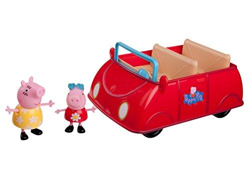 Jazwares 92605 - Peppa Wutz Peppa's rotes Auto, Cabrio mit Melodie und Sound, Spielzeugauto mit exklusiver Peppa und Mama Wutz Spielfigur, Original Peppa Pig Spielzeug Fahrzeug für Kinder ab 3 Jahren