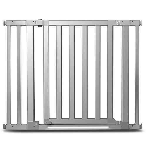 Munchkin Luna Baby Gate with LED Light, Turn Key Mounted Safety Gate for Stairs, Hallways and Doors, Walk Through with Door, Silver