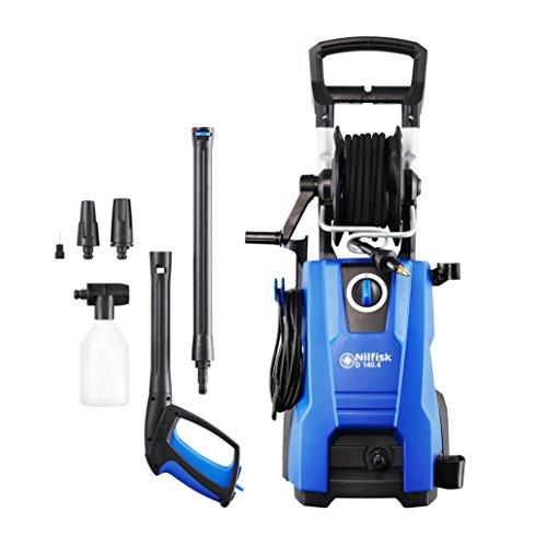 Nilfisk D 140 bar D 140-9 X-TRA UK Hochdruckreiniger für Haushalt, Außenbereich, Autowäsche und Gartenarbeiten  – inklusive Terrassenreinigungsset – 2400-W-Induktionsmotor (Blau)