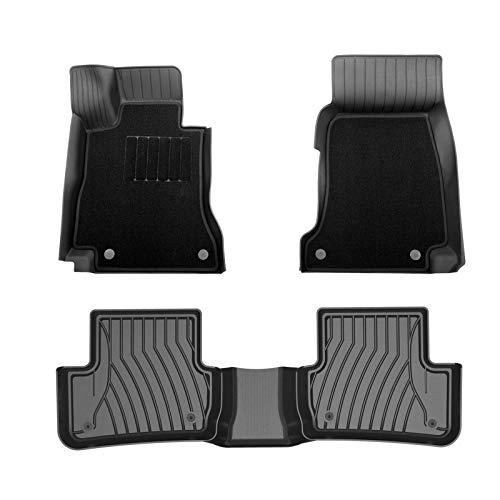 3W Floor Mats for Mercedes Benz C-Class (2015-2020) with Front Carpet Mats On Top, 1st & 2nd Row TPE All-Weather Custom Fit Car Liner, (Sedan Only), Black