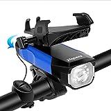 SEWOBYE Luz Bicicleta USB Recargable, 550 Lúmenes Luces Bicicleta con Alarma y Soporte Teléfono, Luz LED Bicicleta para MTB, Bicicleta Carretera (Blue)