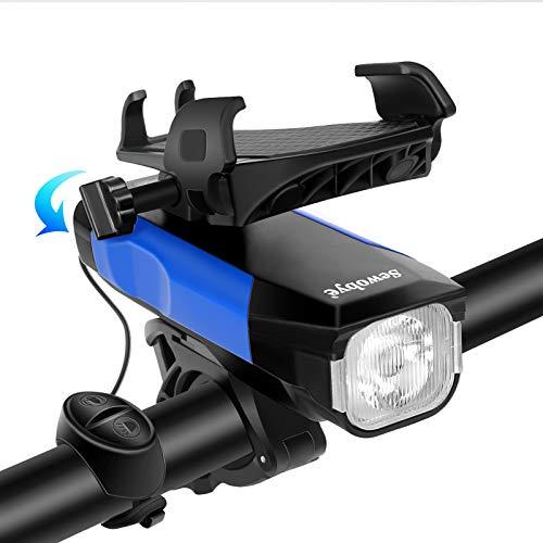 SEWOBYE Luci Bici USB Ricaricabili, Luci Bicicletta LED con Campanello e Supporto Telefono, Luce Bici Luci Bicicletta per Bici da Montagna, Bici Strada e Ebike … (Blue)