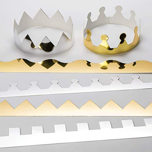 Baker Ross Gold and Silver, Card Craft Crowns for Kids to Decorate and Personalise (Pack of 12), Gold & Silver, 57cm