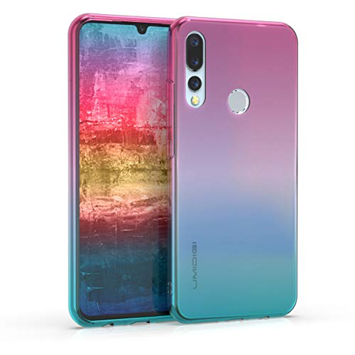 kwmobile Hülle kompatibel mit Umidigi A5 Pro - Hülle Handy - Handyhülle Zwei Farben Pink Blau Transparent
