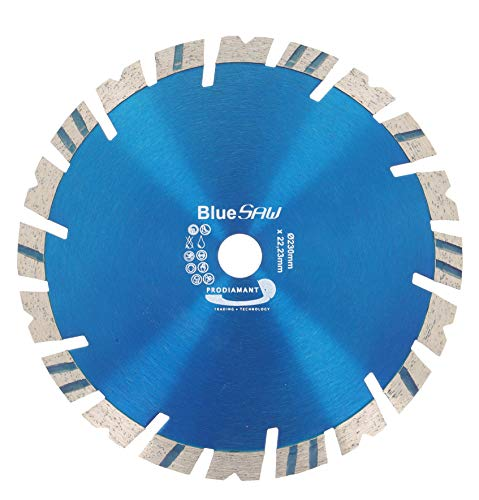 PRODIAMANT BlueSaw Premium Diamant Trennscheibe Beton, Granit, universal 230 mm x 22,23 mm 14mm Turbowechsel Segment