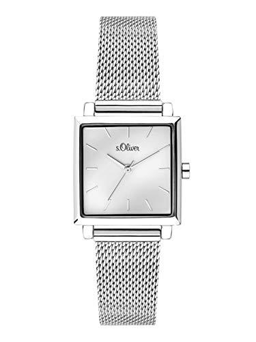 s.Oliver Damen Analog Quarz Uhr mit massives Edelstahl Armband SO-3710-MQ