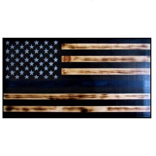 Thin Blue Line Rustic Wooden Flag, Blue line American Flag to Honor Law Enforcement & Police Officers, Made of Natural Wood, Patriotic Symbol For Wall Decor Handmade