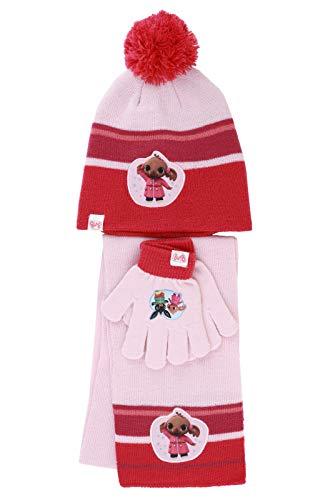 Characters Cartoons Bing Bunny – Juego de invierno de 3 piezas, gorro y guantes y bufanda para el cuello [Bing Rosa 1445 – Talla única]