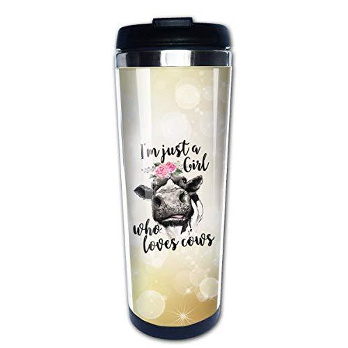 Tazas de café de acero inoxidable Soy solo una chica que ama a las vacas Taza de viaje aislada a prueba de fugas reutilizable con flores