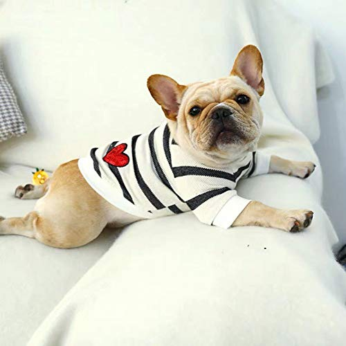 N/A Pet Clothes Dog cat Pet Dog Spring and Summer Black and White Striped Love Round Neck Sweater Sweater French Bulldog Bully pet clothingWarm and Windproof