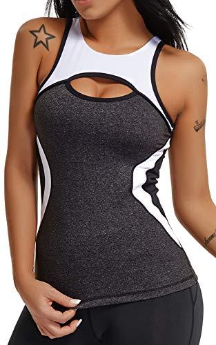 Tops Yoga Mujer Sin Mangas con Relleno Acolchado Deportiva Sujetador Camiseta de Tirantes Gris+Blanco Gris M