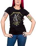 Metallica Camiseta y Justice for All Tracks oficiales para mujer, corte entallado Negro L