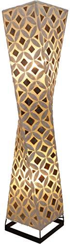 Guru-Shop Lámpara de Pie/lámpara de Pie, Hecha a Mano en Bali de Material Natural, Capiz/madreperla - Modelo Tango, Fibradevidrio, 100x20x20 cm, Lámparas de pie de Materiales Naturales