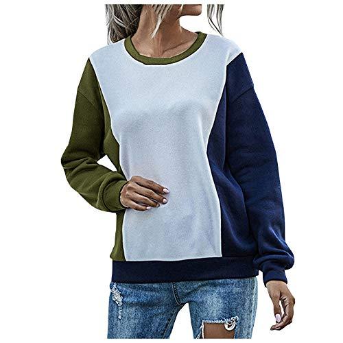 WAo Blusa de retazos de color para mujer, con cuello redondo, manga larga, elástica, para mujer, verde, L