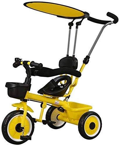 WLD kinderfiets, kinderdriewieler driewieler kinderfiets kinderwagen multifunctioneel met zonneklep met veiligheidshek comfortabele rug geschikt voor kinderen 1-2-3-5-6 Geel