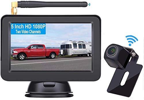 Yakola W9 Kabellos Digital Rückfahrkamera Set mit 12.7cm LCD-Monitor, Dual Cam Channel, eingebautem Funksender, Wireless Einparkhilfe,Wasserdicht IP68-Backup-AutoKamera, Nachtsicht für Van,KfZ,Trailer