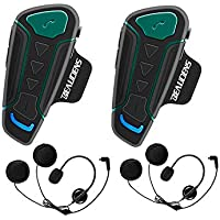 Intercomunicador Casco Moto Bluetooth, BEAUDENS Comunicación Intercom, Gama de 1200m, IPX6 Impermeabilidad, Intercomunicacion Entre 3 Motociclistas, Cancelación de Ruido(2 Unidades)