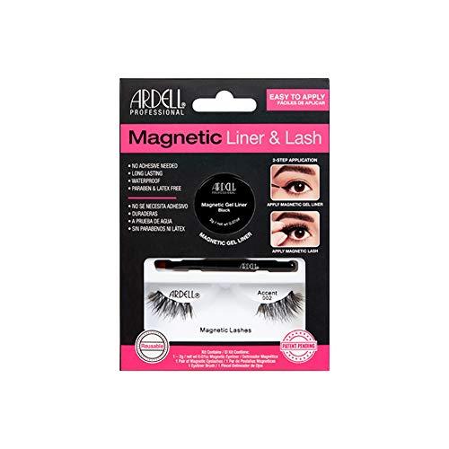 ARDELL Professional Magnetic Liner & Lash - Accent 002, magnetische Wimpern aus Echthaar, magnetischer Gel-Eyeliner und Pinsel-Applikator, black, schwarz, wiederverwendbar