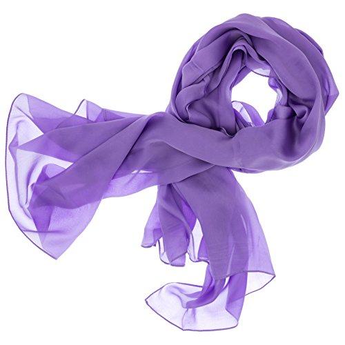 DOLCE ABBRACCIO by RiemTEX ® Schal Damen LADY SUNSHINE Seidentuch Tücher mit hohem Seidenanteil Pashmina Stola Tuch in Fliederfarben Halstuch Kopftuch Damen Seidenschal Elegante Schals (Flieder)
