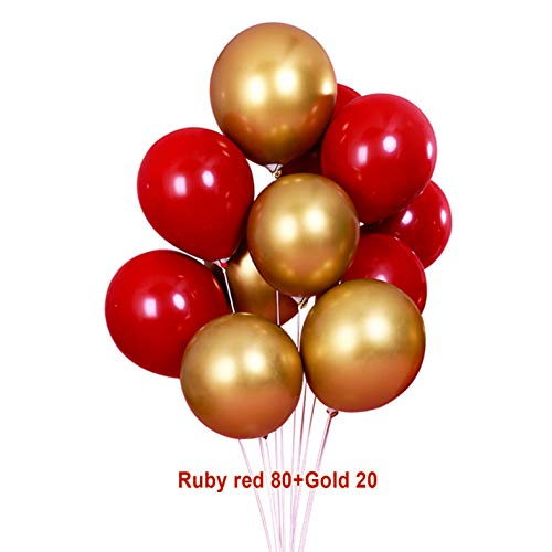 Gold Red Latex Balloons 10 Inch Metallic Gold & Red Color Party Balloons for Birthday, Wedding, Bridal Shower, Baby Shower, Graduation, Anniversary Party Decorations Supplies 100pcs