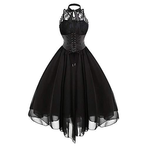 M & A Frauen Gothic Black Rock Korsett Kleid Neckholder Neck Backless High Low Steampunk Ballkleid Spitze Retro Vintage Lolita Party Kleider-schwarz_4XL