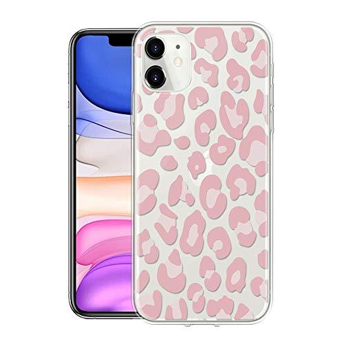 ZhuoFan Funda para iPhone SE 2020 / iPhone 8 / iPhone 7 [4.7'] Cárcasa Silicona Transparente con Dibujos Diseño Suave TPU Antigolpes de Protector Piel Bumper Case Funda para Movil, Leopardo Rosa