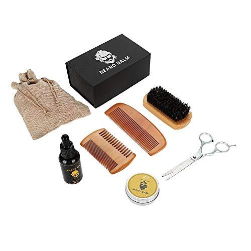 Ensemble professionnel de soin de barbe 8Pcs, kit de nettoyage de barbe pour le père et le mari comprenant la crème de retrait/l'huile essentielle/le peigne en bois/les ciseaux/le shampooing /