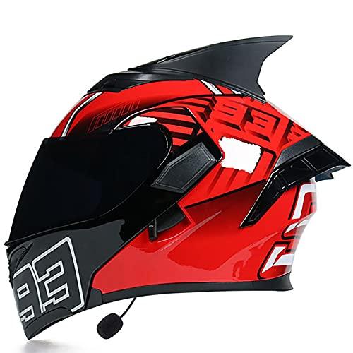 Casco Moto Modular Multifunción Bluetooth Cascos Integral de Moto Flip Up Cascos con Doble Visera,para Montar Al Aire Libre Seguridad Protección Cascos,ECE Homologado F,L=59-60cm