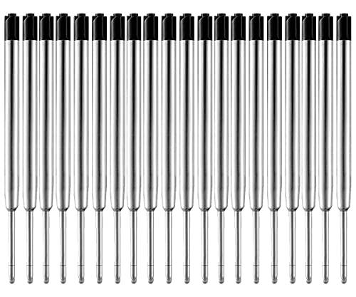 MengRan 3.9'' Ballpoint Pen Refills, Medium Point, Metal Tactical Pen Refill, Black Ink, Pack of 20