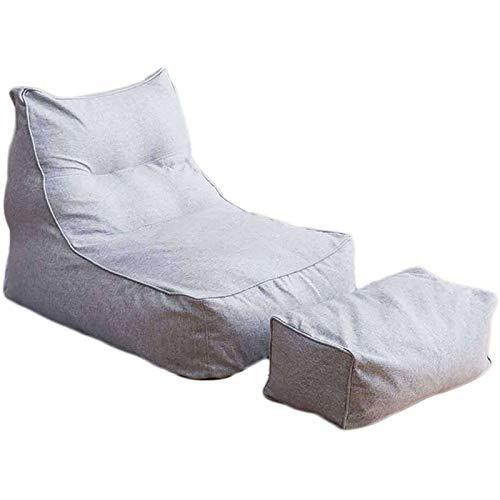 JHLD Sitzsack Bezug, Birnenförmigen Sitzsack Sofahusse Liege Sitzsack Ohne Füllung Stuhlbezug Für Kinder Erwachsene-Hellgrau-1