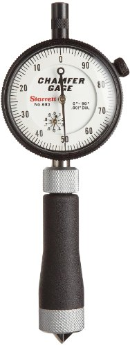 Starrett 683-2Z Inch Reading Internal Chamfer Gauge, 0-90 Degree Angle, 0-1/2