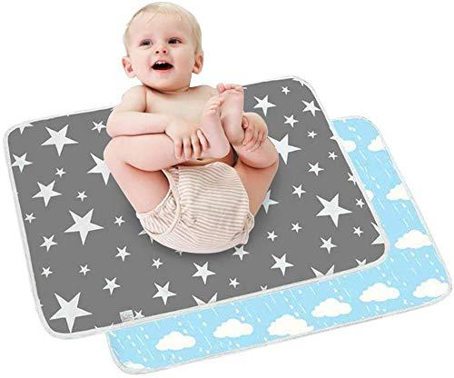 2er-Pack Wickelunterlage für Babys und Kleinkinder, faltbar, groß, wasserfest, waschbar, für Neugeborene und Kleinkinder, tragbar, faltbar, neutral, faltbar