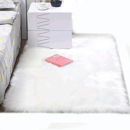 ZHOUZEKAI Oveja de Piel sintética Felpudo Alfombra Antideslizante Lujosa Suave Lana Artificial Alfombra para salón Dormitorio baño sofá Silla cojín (Blanco, 70_x_120_cm)