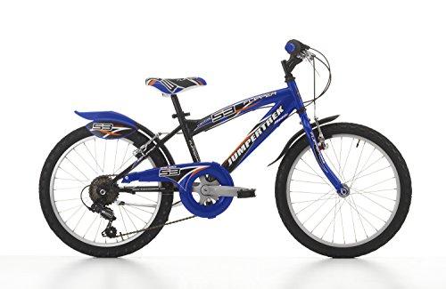 Cicli Cinzia Bicicletta 16' MTB Flipper per Bimbo, Senza Cambio, V-Brake Alluminio, con Parafango Nero/Blu, Bambini