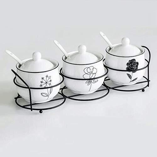 YYhkeby Set Set di Sale in Ceramica e Pepe Set di barattoli di Pepe Cruet Holder con condimento con Il Cucchiaio condimento Zucchero Spezia Scatola di immagazzinaggio Cucina Jialele