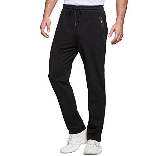 JustSun Jogginghose Herren Trainingshose Sporthose Herren Lang Baumwolle Fitness Hosen Herren Reissverschluss Taschen Schwarz L