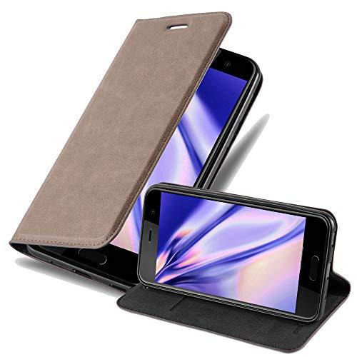 Cadorabo Hülle für HTC U Play - Hülle in Kaffee BRAUN – Handyhülle mit Magnetverschluss, Standfunktion & Kartenfach - Hülle Cover Schutzhülle Etui Tasche Book Klapp Style