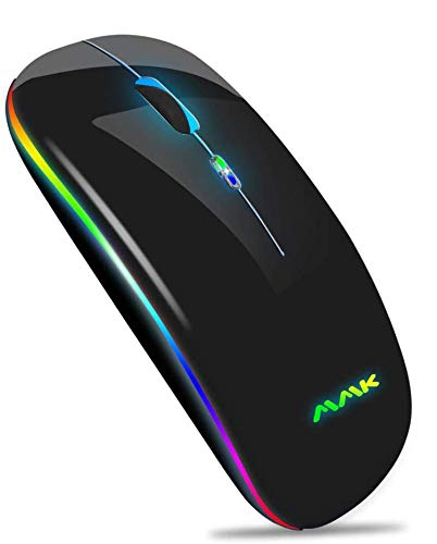 Kabellose Bluetooth Maus,schlanke Maus 2.4G tragbare optische USB-Funkmäuse, wiederaufladbare LED-Dual-Mode-Maus (Bluetooth 5.0 und 2.4G drahtlos) für Laptop, PC, iOS, Android, Windows (Schwarz)