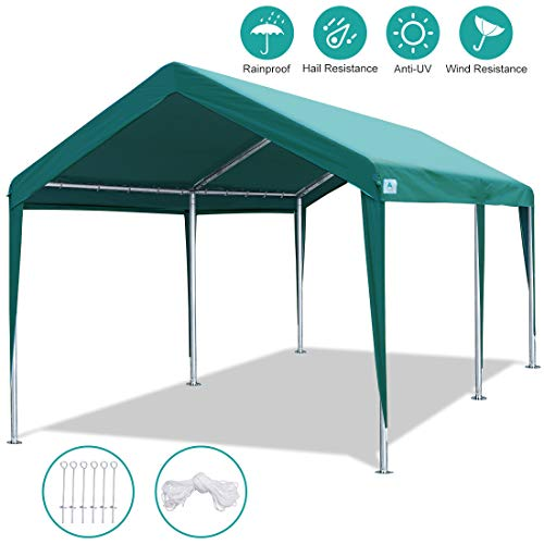 ADVANCE OUTDOOR 10 x 20 FT Heavy Duty Carport Canopy Car Tent Adjustable Height from 6.5ft to 8.0ft, Portable Garage Metal Carport Car Shed Shelter,Green