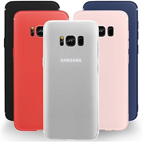 Leathlux 5 × Custodia Galaxy S8 Cover Silicone [Ultra Sottile] Morbido TPU Custodie Protettivo Flessibile Gomma Gel Skin Cover per Galaxy S8 5.8 Pollici Nero, Blu Scuro, Bianco, Rosso, Luce Rosa