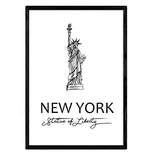 Nacnic Poster de Nueva York - Estatua de la Libertad. Láminas con monumentos de Ciudades. Tamaño A3