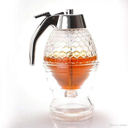 Orangehome Honigspender mit Aufbewahrungsständer, 200 ml Sirupspender, Behälter aus Kunststoff und Acryl, bruchsicher und BPA-frei, kein Tropfen, moderater Durchfluss,