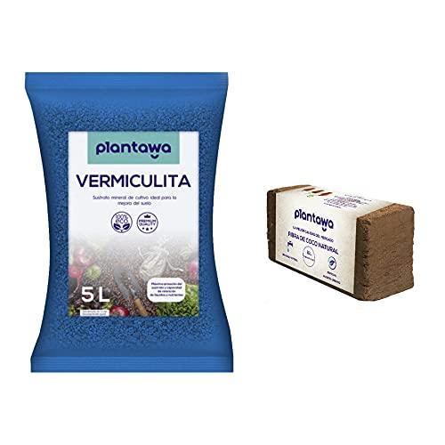 PLANTAWA Sustrato Vermiculita 5L + Fibra de Coco 10L, Sustrato para Plantas, Abono Natural para Huerto Urbano, Tierra para Jardín Exterior Vermiculita y Fibra de Coco