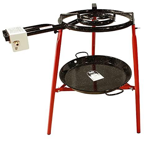 Kit Paellero 40 cm Gas butano, paellera esmaltada de 46 cm, regulador de Gas + 1,5 metros de Manguera, soporte de 3 Patas reforzadas,