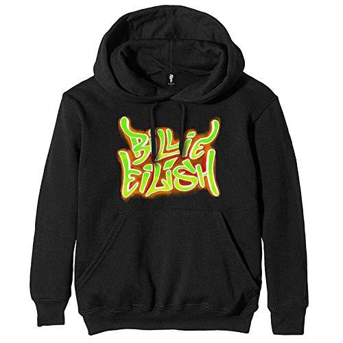 Billie Eilish Airbrush Flames Blohsh - Sudadera con Capucha para Hombre, Color Negro Negro Large