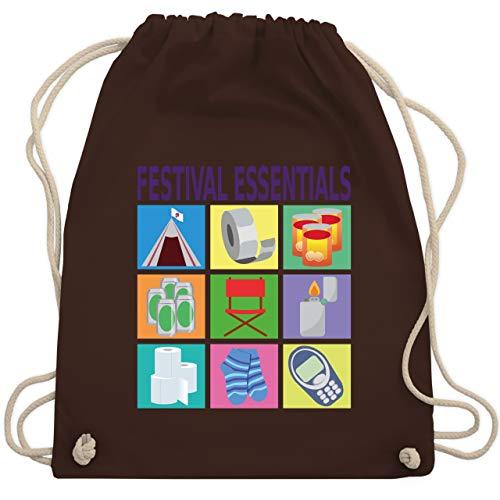 Shirtracer Statement - Festival essentials basics - Unisize - Braun - saufen - WM110 - Turnbeutel und Stoffbeutel aus Baumwolle