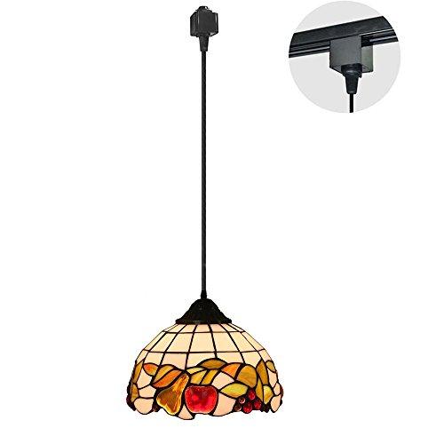 KIVEN 1-Light H-Type Track Pendant Lighting, Cord Length3.3 Feet Restaurant Chandelier Decorative Tiffany Pendant Light 7.9 Inch Lampshade, Bulb Not Included